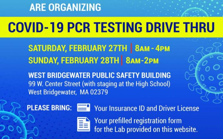 COVID-19 Testing in West Bridgewater February 27th and 28th